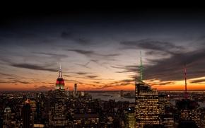 Картинка небо, облака, закат, оранжевый, город, огни, вид, здания, дома, Нью-Йорк, небоскребы, вечер, панорама, USA, США, ...