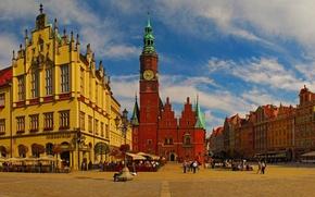 Картинка дома, площадь, Польша, ратуша, Вроцлав, Бреслау, Wroclaw