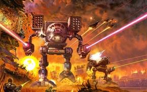 Картинка fire, robot, war, explosions, battle, battletech