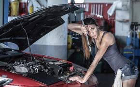 Картинка мастерская, ремонт, девушка, гараж, механик, Ford