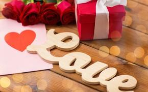 Картинка любовь, буквы, подарок, сердце, розы, бутоны, День Святого Валентина