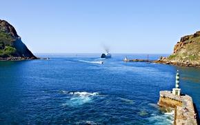 Обои море, бухта, волны, берег, мол, маяк