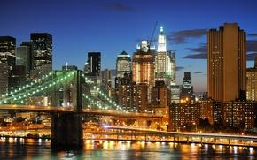 Картинка ночь, огни, Нью-Йорк, небоскребы, USA, Бруклинский мост, NYC, New York City, Brooklyn Bridge