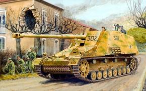 Картинка war, art, painting, tank, ww2, panzer, Sd.Kfz.164 Hornisse