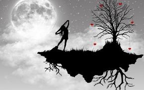 Обои дерево, вектор, луна, девушка