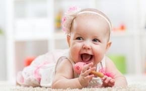 Картинка цветок, радость, счастье, улыбка, девочка, малышка, погремушка
