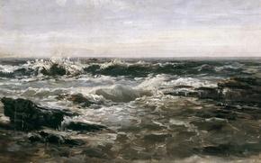 Картинка Волны, морской пейзаж, Карлос де Хаэс