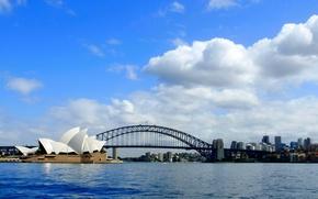 Картинка море, небо, облака, мост, город, панорама, театр, Сидней