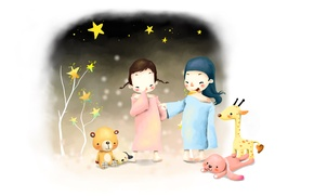 Картинка дети, девочки, игрушки, рисунок, заяц, звёзды, жираф, мишка, щенок, косички, улыбки