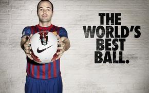 Картинка Мяч, Nike, Barcelona, Andres Iniesta, Андрес Иньеста