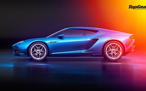Картинка Lamborghini, Top Gear, Blue, Side, Asterion, LPI 910-4