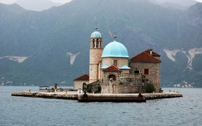 Картинка горы, побережье, остров, собор, храм, монастырь, Черногория, Monasterio de San Jorge