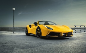 Обои феррари, Rosso, асфальт, Novitec, Ferrari, новитек, 488, Spider, передок, машина, тюнинг, фонарь, столб