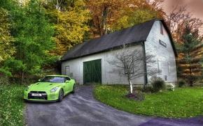 Картинка HDR, GTR, Japan, Nissan, Car, Wood, Green, Front, Photo, R35, Shed