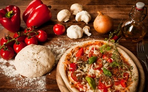 Обои перец, помидоры, болгарский, масло, мука, тесто, блюдо, пицца, сыр, pizza, чеснок, грибы, лук