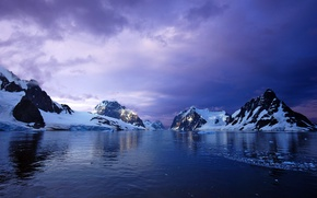 Картинка снег, закат, горы, океан, ледник, Antarctica