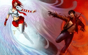 Картинка девушка, крылья, меч, арт, парень