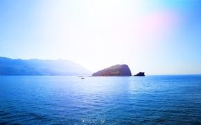 Картинка море, лето, небо, вода, солнце, горы, остров, черногория, будва, св никола, бечичи, island. sea. montenegro. …