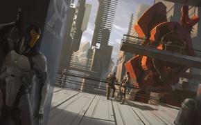 Картинка костюм, robots, hangar, прячеться
