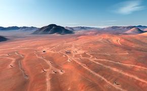 Картинка пустыня, равнина, антенны, сигнал, исследования