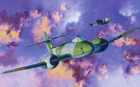 Картинка war, art, airplane, painting, aviation, jet, Gloster Meteor F.III