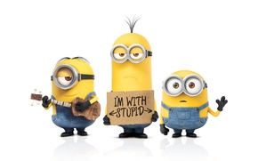 Картинка Movies, 2010, Guitar, Wallpaper, Yellow, Eyes, three, Animation, Minions, Despicable Me 2, 2013, Despicable Me, ...