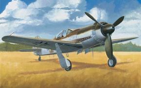 Картинка war, art, painting, aviation, ww2, german fighter, Focke-Wulf Ta 152C-1