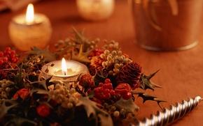 Картинка украшения, фото, настроение, огонь, праздник, обои, новый год, рождество, свеча, картинка, теплота