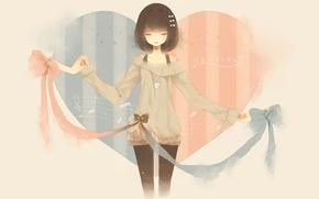 Картинка ленты, ноты, сердце, аниме, арт, девочка, бант, мзыка