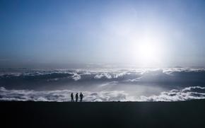 Картинка небо, горы, люди