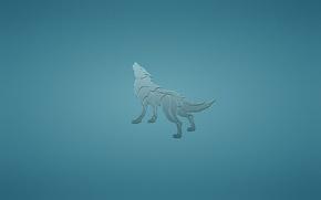 Обои животное, волк, собака, минимализм, синий фон, воет