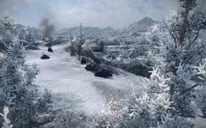 Картинка зима, игра, танки, wot, подбитые, северогорск, world fo tanks
