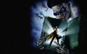 Картинка улыбка, темный фон, демон, существа, скелет, книга, чемодан, Байки из склепа: Демон ночи, Tales from …