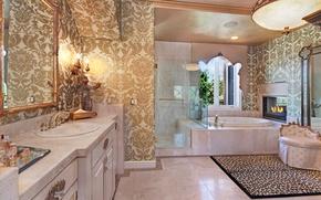 Картинка дизайн, вилла, зеркало, ванна, шкаф, камин, роскошь, Design, Bathroom, luxury, Interior