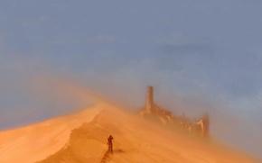 Обои человек, песок, замок