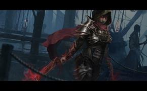 Картинка женщина, капюшон, diablo 3, demon hunter, crossbow
