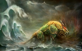 Обои море, лев, монстр