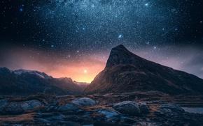 Обои звезды, скалы, небо, горы, ночь, гора