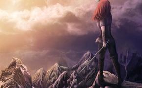 Картинка девушка, облака, закат, горы, фантастика, магия, меч, фэнтези, рыжие