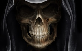 Обои готика, мантия, смерть, череп