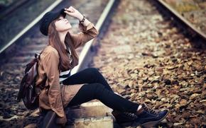 Картинка девушка, настроение, железная дорога, азиатка