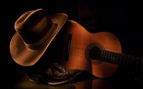 Картинка фон, гитара, шляпа