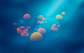 Обои свет, дымка, шар, круг, куб, объем