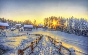 Картинка зима, солнце, снег, забор, дома, тропа, деревня, hdr, winter
