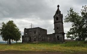 Картинка Природа, Деревья, Церковь, Здание, Старинная, Заброшенная