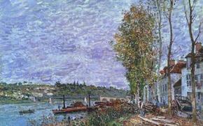 Картинка Серенький день, Сен-Мамме, картина, лодка, мост, пароход, дома, деревья, пейзаж, Альфред Сислей, река, весна
