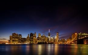 Обои ночь, мост, город, огни, река, NYC, Brooklyn Bridge Park