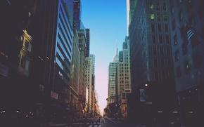 Картинка небо, улица, здания, Нью-Йорк, автомобили, солнечный, светофоры, Соединенные Штаты, городской, пешеходные переходы