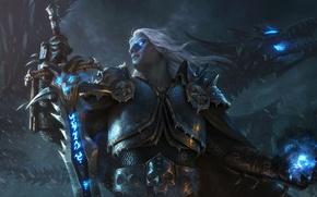 Картинка магия, дракон, рисунок, меч, доспехи, фэнтези, арт, plate, sword, броня, fantasy, Lich King, Король Лич, …
