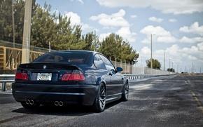 Обои дорога, машина, небо, деревья, черный, BMW, MORR Dark Blue 9